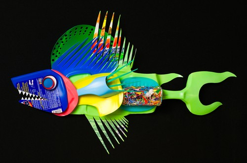 Plastiquarium Colourful Plastic Fish Art By David Edgar
