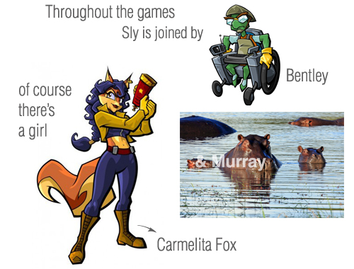 In the Sly Trilogy, Sly Cooper is joined by his friends Bentley and Murray and chased by Carmelita Fox