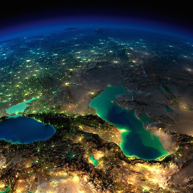 Western Asia and the Caspian Sea.