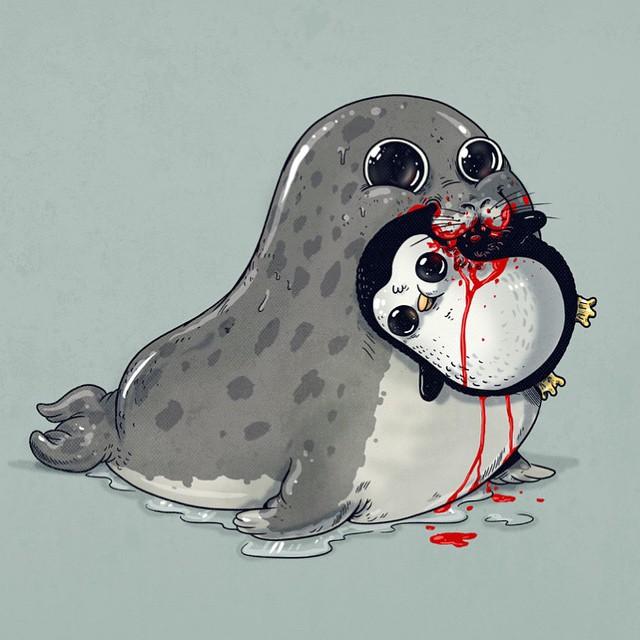 Leopard Seal & Penguin
