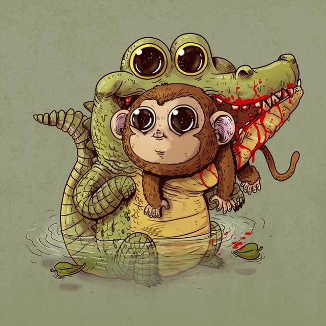 Crocodile & Monkey