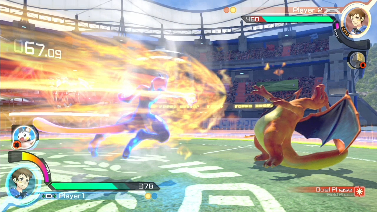 Pokken Tournament screenshot: MewTwo vs Charizard